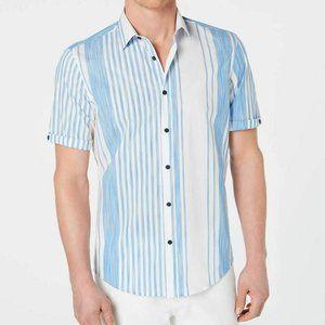 Alfani Shirt Short Sleeve Button Down Striped